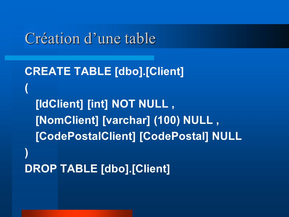 Création d'une table CREATE TABLE [dbo].[Client] (